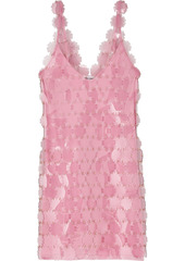 Paco Rabanne Woman Embellished Chainmail Mini Dress Baby Pink