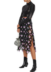 Paco Rabanne Woman Embroidered Satin-twill And Guipure Lace Skirt Black