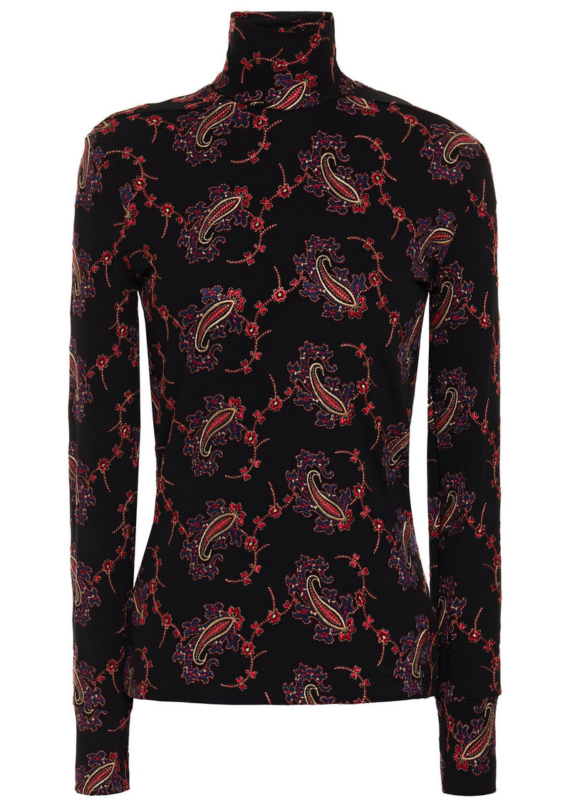 Paco Rabanne Woman Embroidered Stretch-jersey Turtleneck Top Black
