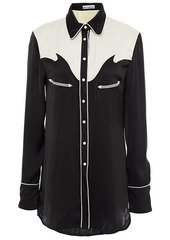 Paco Rabanne Woman Embroidered Two-tone Satin Shirt Black