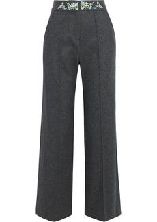 Paco Rabanne Woman Embroidered Wool-blend Felt Wide-leg Pants Dark Gray