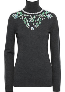 Paco Rabanne Woman Faux Pearl-embellished Embroidered Wool Turtleneck Sweater Dark Gray