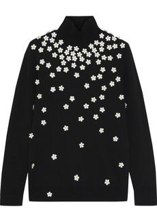 Paco Rabanne Woman Floral-appliquéd Stretch-knit Turtleneck Sweater Black