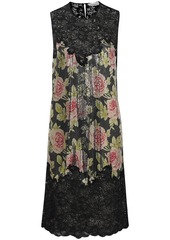 Paco Rabanne Woman Paneled Corded Lace And Floral-print Chainmail Dress Black