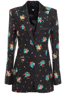 Paco Rabanne Woman Floral-print Cotton-blend Blazer Black