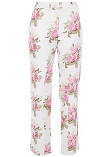 Paco Rabanne Woman Floral-print Cotton-blend Cady Straight-leg Pants White