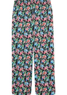 Paco Rabanne Woman Floral-print Crepe De Chine Wide-leg Pants Multicolor