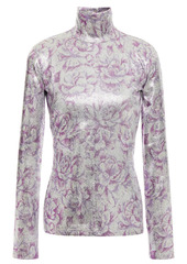 Paco Rabanne Woman Floral-print Metallic Stretch-jersey Turtleneck Top Silver