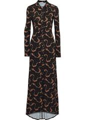 Paco Rabanne Woman Floral-print Satin-jersey Maxi Dress Black