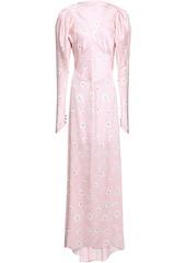Paco Rabanne Woman Floral-print Satin Maxi Dress Pastel Pink