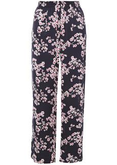 Paco Rabanne Woman Floral-print Satin Straight-leg Pants Midnight Blue