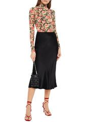 Paco Rabanne Woman Floral-print Stretch-cupro Jersey Turtleneck Top Black