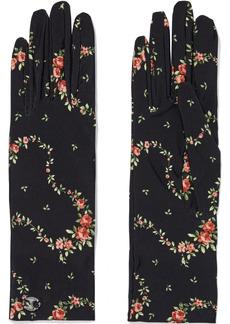 Paco Rabanne Woman Floral-print Stretch-jersey Gloves Black