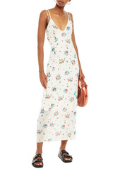 Paco Rabanne Woman Floral-print Stretch-jersey Maxi Slip Dress Cream