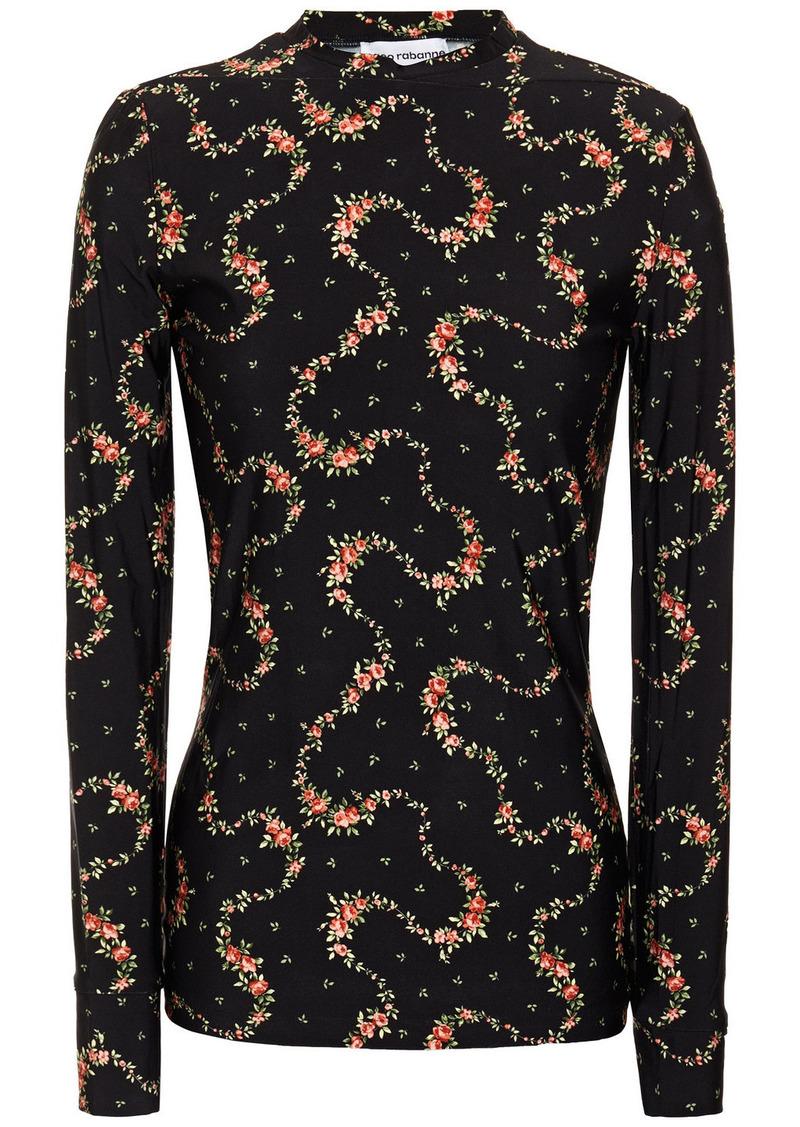 Paco Rabanne Woman Floral-print Stretch-jersey Top Black