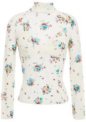 Paco Rabanne Woman Floral-print Stretch-cupro Jersey Turtleneck Top Cream
