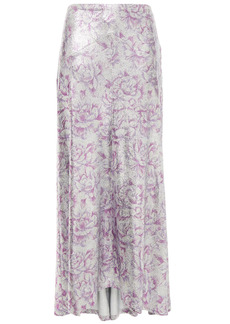 Paco Rabanne Woman Fluted Floral-print Metallic Stretch-jersey Maxi Skirt Silver