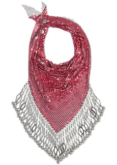Paco Rabanne Woman Fringed Chainmail Scarf Silver