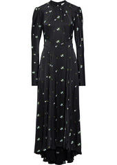 Paco Rabanne Woman Gathered Embroidered Satin Maxi Dress Black
