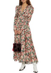 Paco Rabanne Woman Gathered Floral-print Satin Maxi Dress Multicolor
