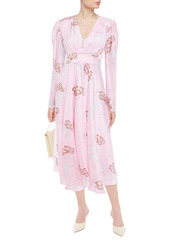 Paco Rabanne Woman Gathered Floral-print Satin Midi Dress Baby Pink