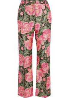 Paco Rabanne Woman Glitter-embellished Floral-print Jacquard Kick-flare Pants Pink