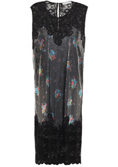 Paco Rabanne Woman Lace-paneled Floral-print Chainmail Dress Black