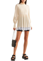 Paco Rabanne Woman Lace-trimmed Pleated Crepe De Chine Blouse Ivory