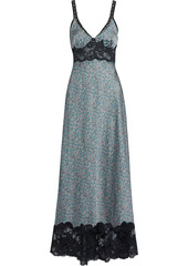 Paco Rabanne Woman Lace-trimmed Floral-print Crepe De Chine Maxi Slip Dress Teal
