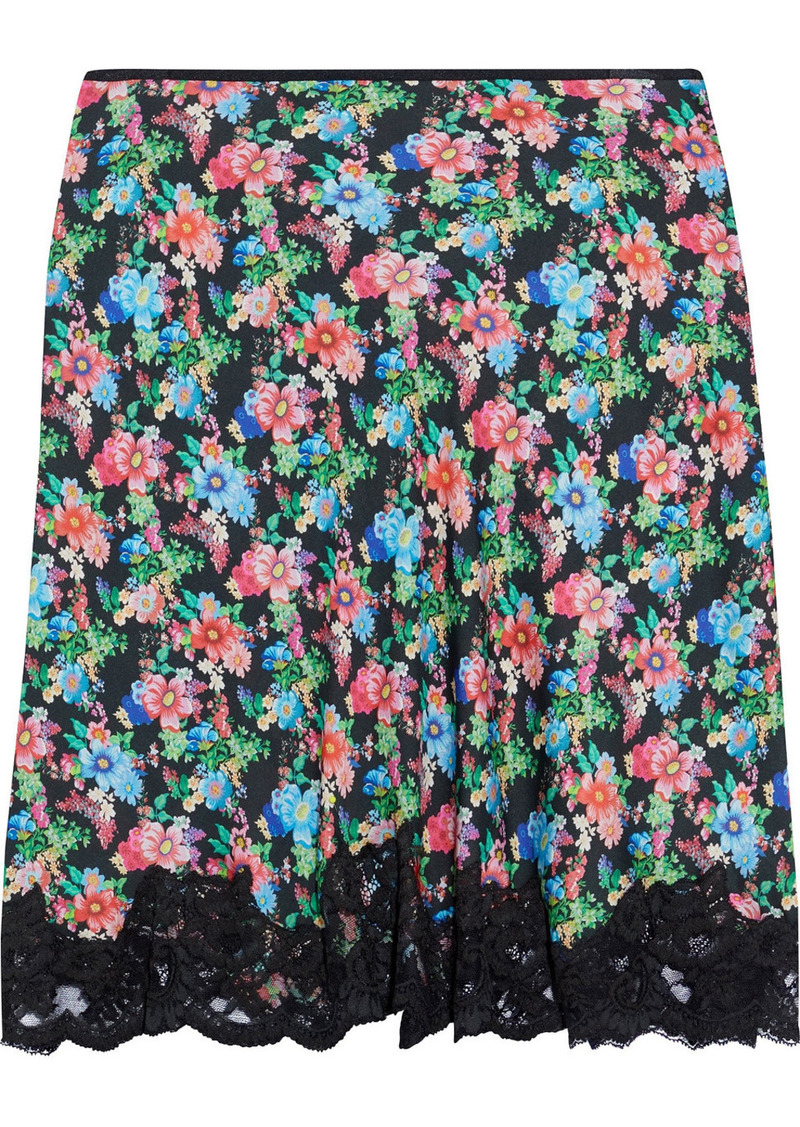 Paco Rabanne Woman Lace-trimmed Floral-print Crepe De Chine Mini Skirt Multicolor