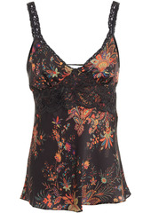 Paco Rabanne Woman Lace-trimmed Floral-print Satin Camisole Black