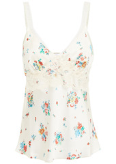 Paco Rabanne Woman Lace-trimmed Floral-print Satin Camisole Cream