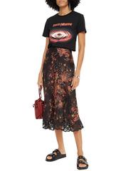 Paco Rabanne Woman Lace-trimmed Floral-print Satin Midi Skirt Black