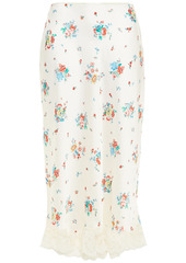 Paco Rabanne Woman Lace-trimmed Floral-print Satin Midi Skirt Cream