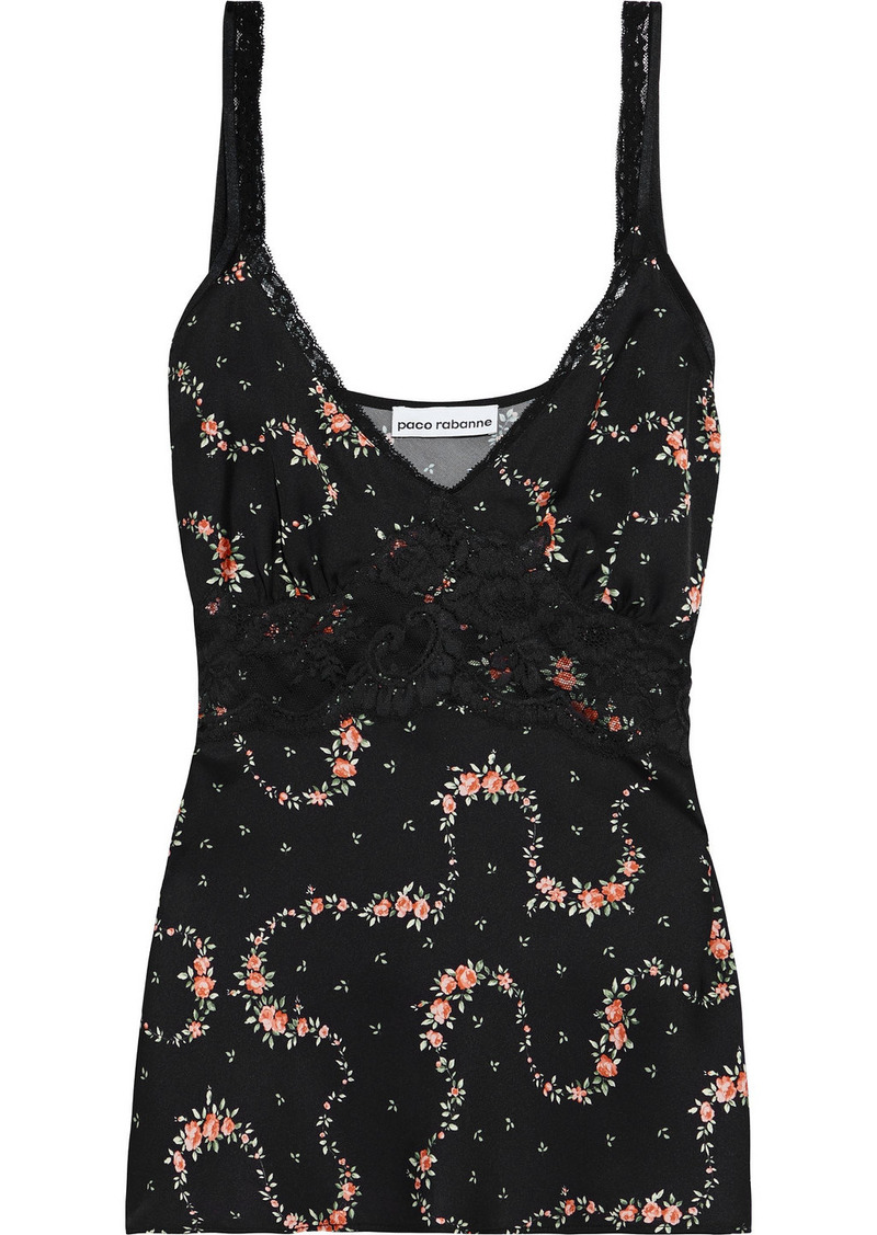 Paco Rabanne Woman Lace-trimmed Printed Satin Camisole Black