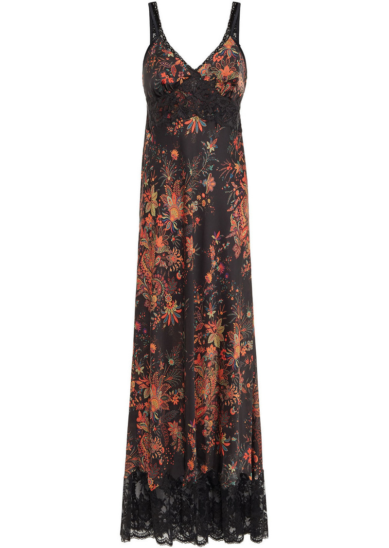 Paco Rabanne Woman Lace-trimmed Printed Satin Maxi Dress Black