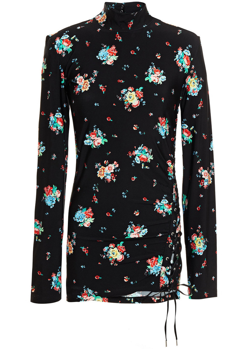Paco Rabanne Woman Lace-up Floral-print Stretch-jersey Turtleneck Top Black