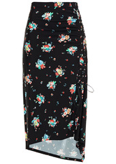 Paco Rabanne Woman Lace-up Ruched Floral-print Stretch-jersey Midi Skirt Black