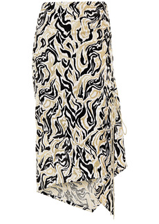 Paco Rabanne Woman Lace-up Ruched Metallic Chenille-jacquard Midi Skirt Black