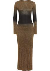 Paco Rabanne Woman Metallic Dégradé Knitted Maxi Dress Gold