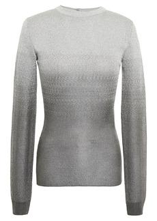 Paco Rabanne Woman Metallic Dégradé Stretch-knit Sweater Silver