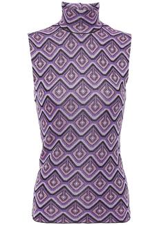 Paco Rabanne Woman Metallic Jacquard-knit Turtleneck Top Purple