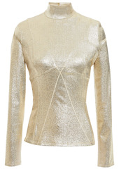 Paco Rabanne Woman Metallic Stretch-jersey Turtleneck Top Gold