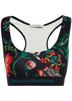 Paco Rabanne Woman Monogram-trimmed Floral-print Stretch-jersey Sports Bra Dark Green