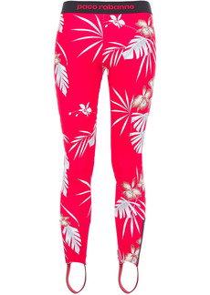 Paco Rabanne Woman Monogram-trimmed Printed Stretch Stirrup Leggings Tomato Red