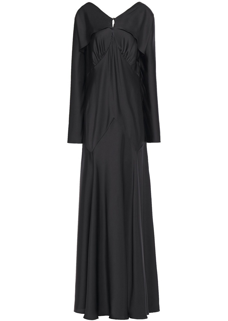 Paco Rabanne Woman Open-back Layered Satin Gown Black