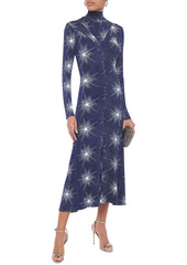 Paco Rabanne Woman Open-back Printed Stretch-jersey Turtleneck Midi Dress Navy
