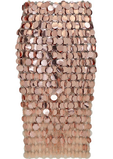 Paco Rabanne Woman Paillette-embellished Chainmail Midi Skirt Rose Gold