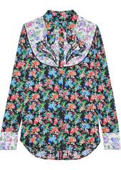 Paco Rabanne Woman Paneled Appliquéd Floral-print Crepe De Chine Shirt Multicolor