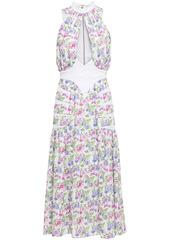 Paco Rabanne Woman Paneled Cutout Floral-print Cady Midi Dress White